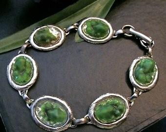 Moss Green Vintage Oval Glass Cabs in Vintage Link Bracelet