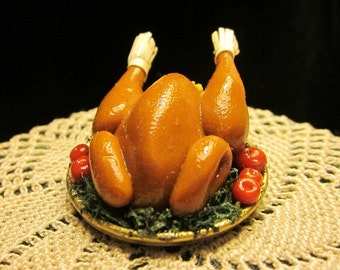 1/12 Scale (Dollhouse) A Perfectly Roasted Turkey on a Platter with Greens And Crab Apple Garnish - Indoor Fairy Garden