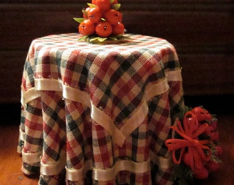 1/12 Scale (Dollhouse) Red Green & White Gingham Double Cloth Covered Table with Picot Ribbon Trim - Indoor Fairy Garden