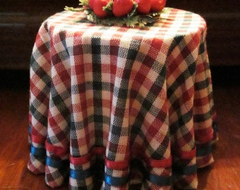 1/12 Scale (Dollhouse) Red Green & White Gingham Single Cloth Covered Table Trimmed with Two Rows of Ribbon - Indoor Fairy Garden