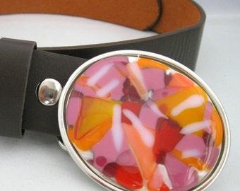 Sugar Pie belt buckle, pink orange fused glass, removable snap leather belt