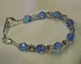 Light Sapphire Bracelet Medical Alert Allergy ID Replacement Bracelet or Watchband by madeforUjewelry on Etsy