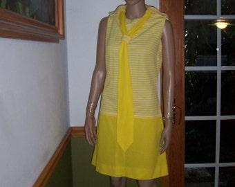 Womens  Dress-Sleeveless-Yellow & White- Long Neck tie-Mod Vintage Dress ~ Maker: KNITS U.S.A. By Fisher