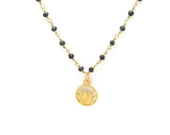 Lotus Necklace | Spinnel Necklace in Mangalsutra | Protection | Yoga Inspired jewelry | Gifts with Meaning | Yoga Necklace | Buddha Necklace