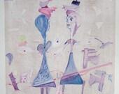 Original Mixed Media Fine Art Monoprint : Liaisons Dancereuse