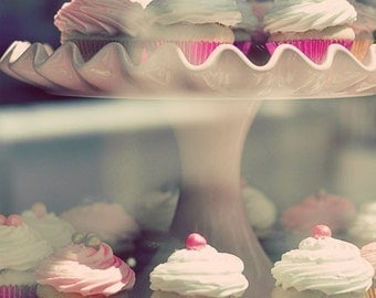 Kitchen Decor, Photography, Cupcakes, Bakery, Cafe, Pastel, Pink, Shabby Chic, Food Photography. Fine Art Photography
