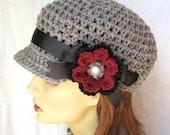 Ohio State Buckeyes University Colors, Gray Teens Womens Hat, Newsboy, Black, Burgundy, Flower, Birthday Gifts JE270NRF2