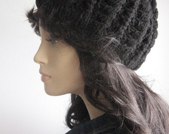 Black Cables and Lace Beanie, Vegan Hat, Cable Knit Hat, Black Vegan Beanie, Fall Accessories, Black Cap, Black Beanie
