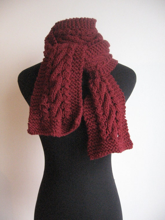 Burgundy Cable and Lace Vegan Scarf