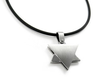 Modern Unique Star of David Necklace Stainless Steel Contemporary Men Jewelry