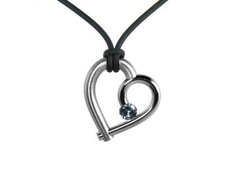 Stainless Steel Open Heart Pendant Blue Topaz Tension Set