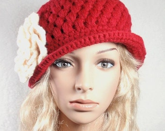 PDF - Pattern for CROCHET Cherry Red Hat with brim and CROCHET removable flower, the patterns are written in English language only