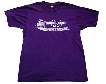 Vintage Tshirt Mens Large Purple Tee All Aboard the The Taking Care Train Sweet Shirt LARGE