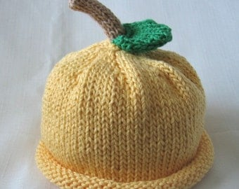 Boston Beanies Yellow Lemon Hat, Knit Cotton Baby Hat