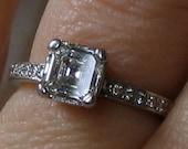 Asscher Engagement Ring/ Square Cut 1ct Diamond/ 1 ct Solitaire Diamond/ Platinum Band/ Art Deco 20s Style/ VS1 H Color/ Vintage Wedding