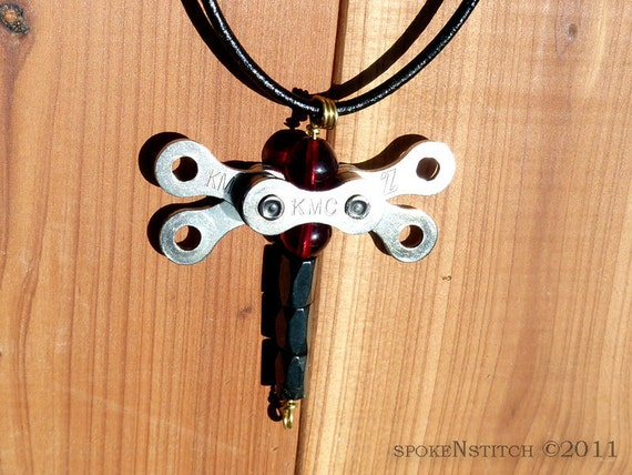 Dragonfly Necklace Pendant Red - Upcycled Bicycle Chain Link Jewlery Blood Red Beads Shiny Black Leather Cord