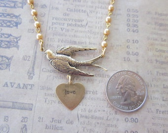 PEARL NECKLACE - Antique Brass Beige Pearl - BIRD necklace - Bridal Love Bridesmaid