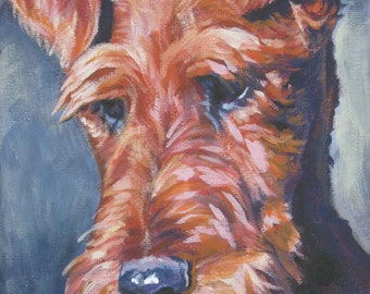 Irish Terrier dog art CANVAS print of LA Shepard painting 12x16 portrait
