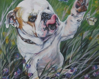 "ENGLISH BULLDOG dog art portrait canvas PRINT of LAShepard painting 12x12"""