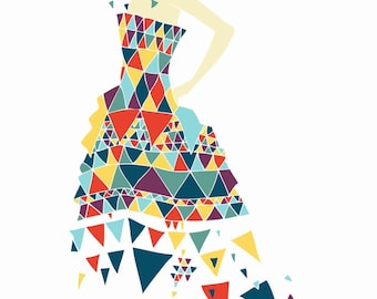 Triangles : Art Print / Fashion illustration / Gift
