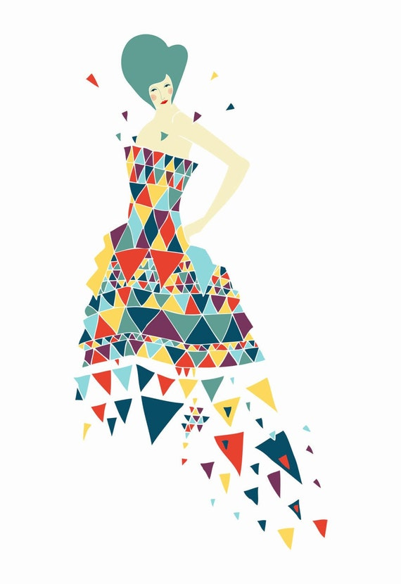 Triangles : Art Print / Fashion illustration / Gift