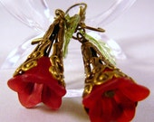 Earrings, Crimson Red, Brass, Green, Trumpet   3017