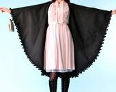 Vintage Yves Saint Laurent Black Cape Wool Shawl 60s YSL