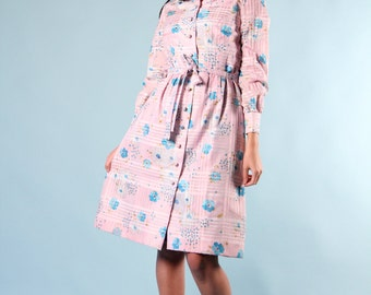 Vintage Coat Dress Lilac Turquoise Floral Belted s m