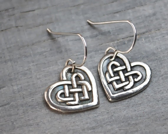 Silver Heart Earrings - Celtic Knot Heart - Sterling Silver Ear Wires - Handcrafted Jewelry Metalwork