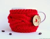 Valentines Day Decor, Coffee Cup Sleeve, Coffee Cup Cozy, Coffee Mug Cozy, Coffee Sleeve, Knit Coffee Cozy, Tea Cozy, Red Bridesmaid Gift