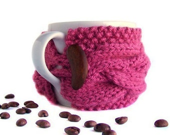 Tea Cozy, Coffee Cozy, Cup Cozy, Pink Coffee Mug Cozy, Coffee Sleeve, Coffee Cup Cozy, Coffee Cup Sleeve, Pink Tea Cup Cozy, Rose Tea Gifts