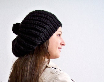 Knit Slouchy Hat, Knit Hat With Pom Pom Hat Womens Slouchy Beanie Hat Chunky Knit Hat Knit Slouchy Beanie Knit Slouch Hat Knit Slouch Beanie