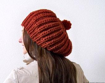 Knit Hat with Pom Pom, Chunky Knit Hat, Knit Slouchy Hat, Slouchy Beanie, Slouch Hat, Slouch Beanie, Pom Beanie, Chunky Hat, Wool Hat Knit