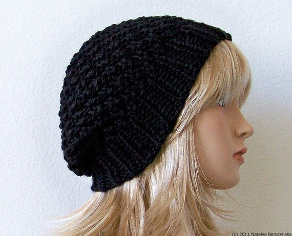 Black Slouchy Beanie Hat, Knit Slouchy Hat, Knit Slouch Hat, Knit Slouch Beanie, Knit Slouchy Beanie Chunky Knit Hat Black Beanie Chunky Hat