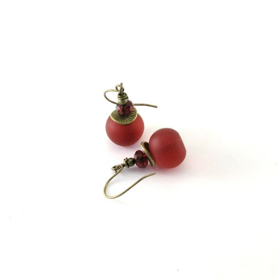 Red Glass Earrings Frosted Glass Czech Glass Antique Brass Bronze Beaded Dangle Wire