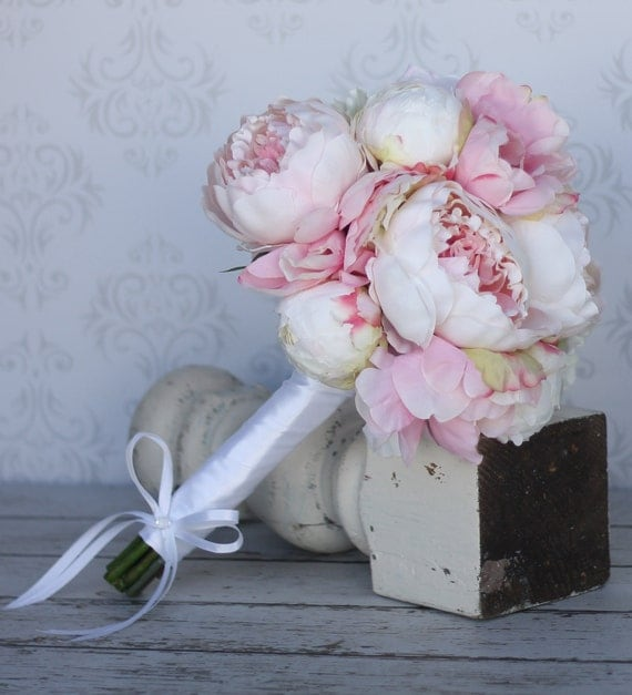 Silk Bride Bouquet Shabby Chic Vintage Inspired Wedding Pink and Cream Peony Flowers (Item Number MHD20050)