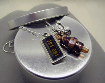 Road Trip Necklace - 1955 Illinois - License Plate Pendant - DAV License Tag - VW Bug Charm Necklace - 60th Birthday Travel