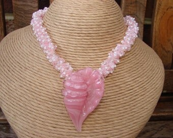 Pink Lampwork Glass Shell Focal Seed Bead Necklace... N2Beadz