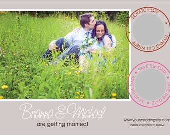 Wedding Save The Date Scratch Off Cards & Envelopes Photo Scratch Off Card Invitation Professionally Printed (100 qty)