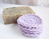 Face Scrub Pad Ultra Soft Cotton Crochet - Set of 4 Lavender Purple
