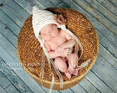Baby Pixie Bonnet Hat Cream Lace Rosettes Crochet Newborn Photo Prop