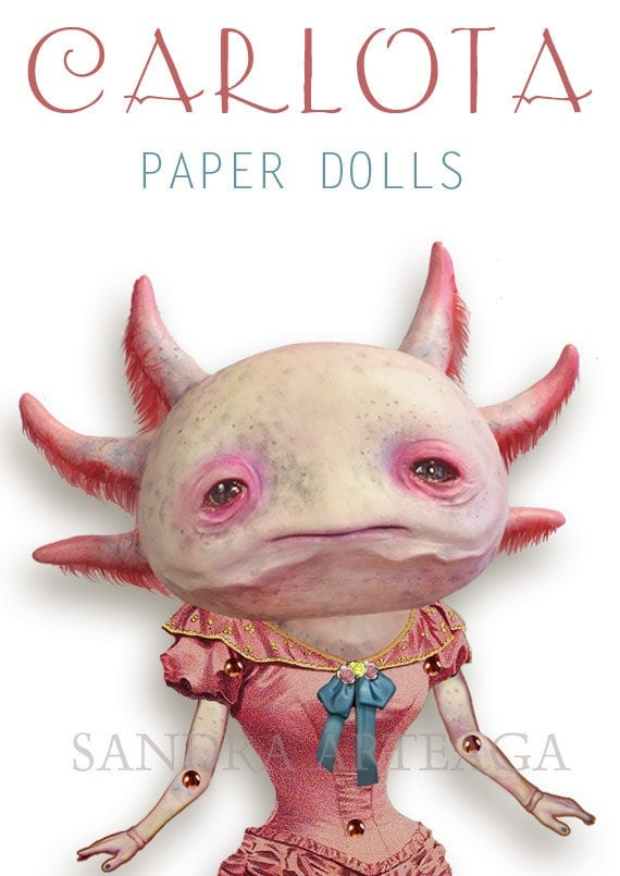 Carlota  -  PAPER DOLL -  articulated axolotl - 10.2 inches -  art doll magical creature freak carnival circus salmon pink