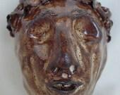 Stoneware Mask Pinch Pot