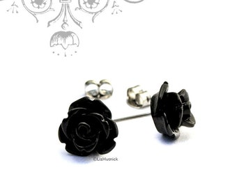Mini Gothic Rose Earrings, Black Rose Posts, Flower Stud Earrings, Bohemian, Stainless Steel, Sterling Silver, or Titanium Posts