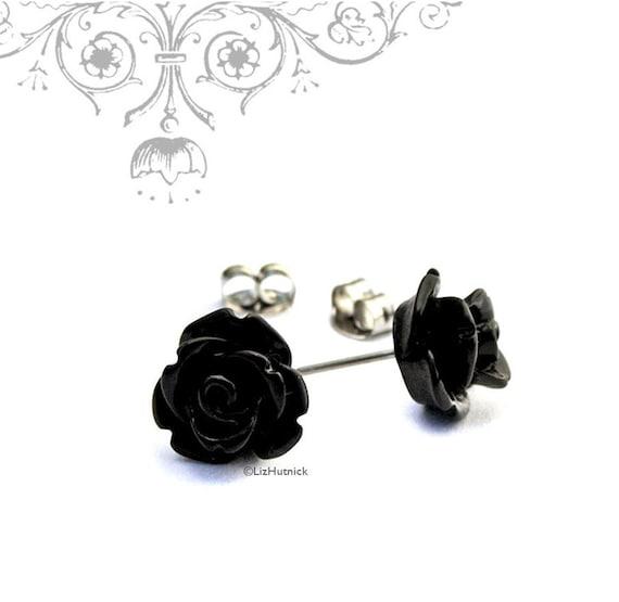 Mini Gothic Rose Earrings, Black Rose Posts, Flower Stud Earrings, Bohemian, Stainless Steel, Sterling Silver, or Titanium Posts