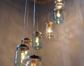 Mason Jar Chandelier, Waterfall Spiral Hanging Mason Jar Lighting Fixture, Blue And Clear Mason Jars, BootsNGus Modern Lighting & Home Decor