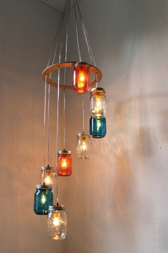 Red White & Blue Mason Jar Chandelier - Cascading Carousel Hanging Light Fixture - Rustic Industrial Eco Friendly Original BootsNGus Design