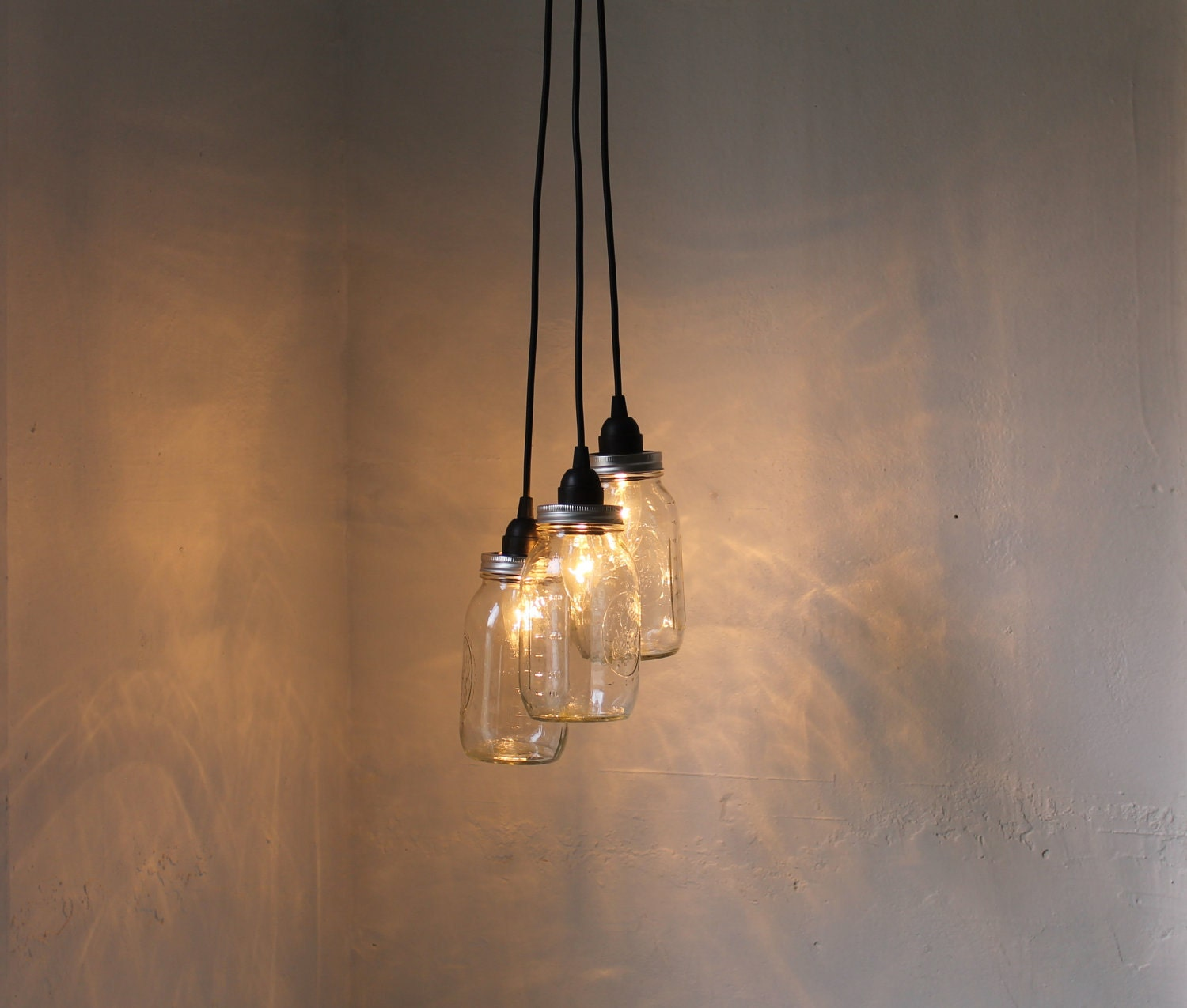 Mason jar chandelier upcycled hanging mason jar pendants for Hanging lights made from mason jars