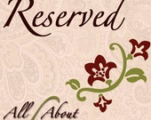 Reserved Listing for Raquel