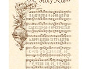 OH HOLY NIGHT - 8x10 Antique Hymn Art Print Vintage Verses Sheet Music Natural Parchment Sepia Brown Ink O Night Divine Savior Lord Christ